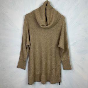 Soft Surroundings Cowl Neck Side Zip Wool Sweater